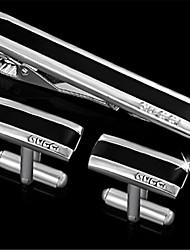 Men's Engravable Silver Plain Internet Email @ Pattern Cufflinks and Tie Bar Clip Clasp(1 Set)