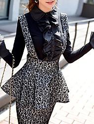 Women's Ruffle Skirts , Elastic/Nylon Casual/Print/Work DABUWAWA