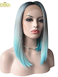 Emma Wigs Heat Friendly Synthetic Fiber Lace Front Straight Wig, Ombre Color Bob Hairstyle Wig