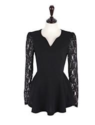 Women's Lace White / Black Blouse , V Neck Long Sleeve