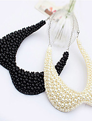 Women's Collar Necklace Pearl Necklace Pearl Imitation Pearl Ceramic Fabric Alloy Fashion White Black Jewelry Wedding Party Daily Casual