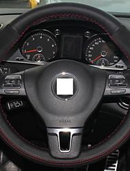 Xuji ™ véritable cuir suédé de la couverture de volant noir pour VOLKSWAGEN VW Tiguan gol passat cc b7 Touran Magotan Sagitar
