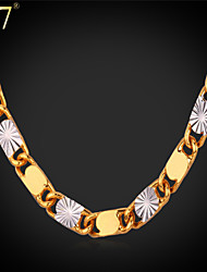 U7® Unisex Two-tone Gold Plated Necklace Platinum/18K Gold Plated Women Men Jewelry New Fashion Chain Necklace