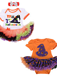 BHL Infant Baby Girl's Hallowmas Gift Climb Romper Clothing Magic Cap And Pumpkin Pattern Baby Bodysuit for 0~1 Y Girl