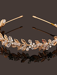 Vintage Charming Design Wedding Bride Handmake Headband Necklace Cown Pearls Hair Accessior Flower Gold