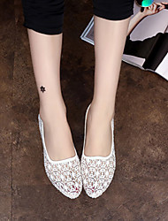Zapatos de mujer Sintético Tacón Plano Comfort/Puntiagudos Mocasines Exterior/Casual Negro/Blanco