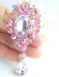 3.35 Inch Gold-tone Pink Rhinestone Crystal Drop Flower Brooch Pendant Art Decorations