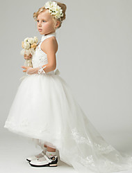 A-line Floor-length / Asymmetrical Flower Girl Dress - Lace / Tulle / Polyester Sleeveless High Neck with