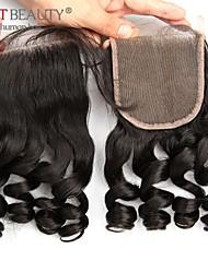 Encerramento 10-20 polegadas cabelo humano onda solta remy natural preto encerramento 4 * 4 de cabelo