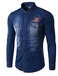 Men's Long Sleeve Jacket , Denim Casual/Work