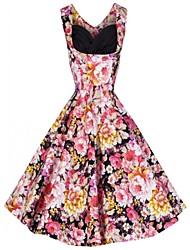 Women's Vintage V Neck Dress , Spandex Above Knee Sleeveless