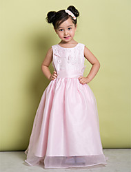 Lanting Bride ® A-line Floor-length Flower Girl Dress - Organza Sleeveless Scoop with Bow(s)