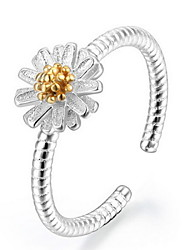 Cute Adjustable Ring silver Daisy Small Chrysanthemum Open Ring