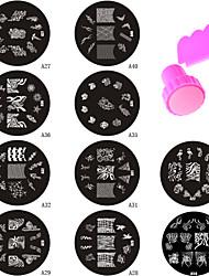 10pcs New Design A Series Nail Art Stamping Plate + Stamper & Scraper