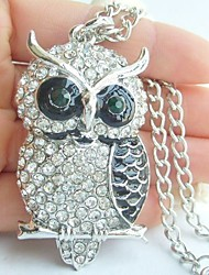 Charming Owl Necklace Pendant With Clear Rhinestone Crystals
