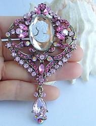 Pretty 3.74 Inch Gold-tone Pink Rhinestone Crystal Brooch Pendant Art Deco