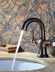 bronze antigo alça banheiro lavatório torneira da pia doble quente e fria