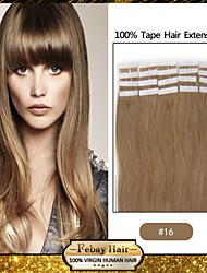 20pcs 1.5-2.5g / pc 16-24inch fita no cabelo extensões de cor # 16 muitas cores em estoque