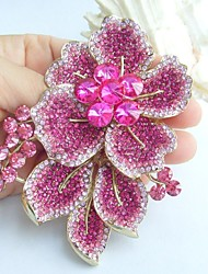Gorgeous 3.54 Inch Gold-tone Pink Rhinestone Crystal Flower Brooch Art Decorations