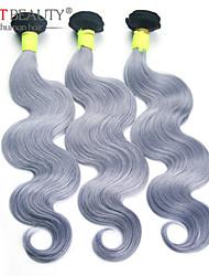 """3pcs / lot 10 """"-26"""" onda del cuerpo gris pelo remy virginal del pelo humano del pelo ruso"""