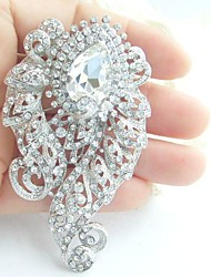 Wedding 3.15 Inch Silver-tone Clear Rhinestone Crystal Flower Bridal Brooch Pendant Bridal Bouquet