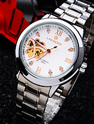 Men's New Round Diamond Dial Mineral Glass Mirror Stainless Steel Band Fashion Life Waterproof  Mechanical Watch