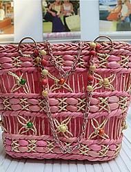 Для женщин Соломка На каждый день / Для отдыха на природе Сумка-шоппер Бежевый / Розовый / Черный