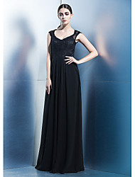 TS Couture® Formal Evening / Black Tie Gala Dress Sheath / Column V-neck Floor-length Chiffon / Lace with Lace