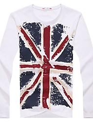 Brand 100% Cotton Fashion Men T-shirt Union-JackFitness T shirts Men Long Sleeve Shirt