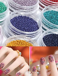 12PCS Mix Color  Miniature  Bead Nail Art Decorations