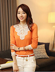 Women's White/Black/Orange T-shirt Long Sleeve Hollow Out