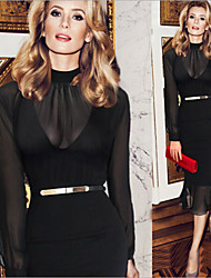 Women's Patchwork Black Dresses , Bodycon Stand Long Sleeve
