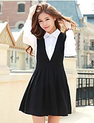 Women's Shirt Collar Tassel Dress , Linen Above Knee Long Sleeve