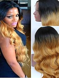 lange blonde synthetische lace front pruik hittebestendige Kanekalon haar ombre natuurlijke zwart naar blond klankkleur golvende pruiken