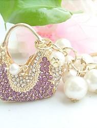 bolsa chaveiro bolsa encantador com roxo&cristais de strass claras