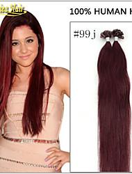"""venta al por mayor 18 """"-28"""" 1g / s 100g / pack 100s i punta extensiones de cabello palo remy indio verdadera pre queratina servidumbre"""