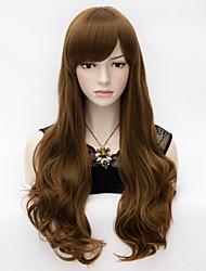 ondulação natural misturado marrom mergulhado calor sintética resistente vestido extravagante peruca de cabelo