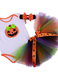 BHL Infant Baby Girl's Climb Romper Hoodies Clothing And Skirt Set with Headband Pumpkin Pattern Baby Bodysuit