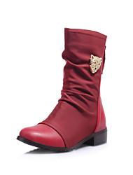 Calçados Femininos Courino Salto Baixo Modelos/Arrendondado Botas Ar-Livre/Escritório & Trabalho/Casual Preto/Azul/Marrom/Vinho