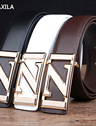 Men Calfskin Waist Belt , Party/Work/Casual business casual Trend fashion plate buckle