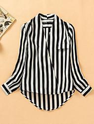 Women's Striped Black Blouse , Deep V Long Sleeve
