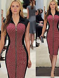 Women's Stand Bandage Dress , Cotton Blend Vintage/Bodycon/Casual/Party/Work Sleeveless VERYM