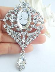 Wedding 3.74 Inch Silver-tone Clear Rhinestone Crystal Bridal Brooch Pendant