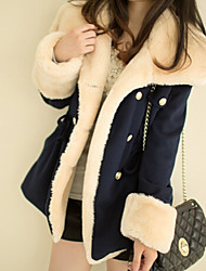 Women's Solid Color Blue / Red / Brown Coats & Jackets , Casual V-Neck Long Sleeve