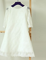Sheath / Column Tea-length Flower Girl Dress - Lace Long Sleeve Bateau with Lace