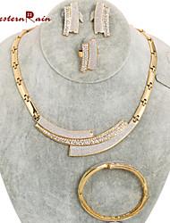 WesternRain New Design Women Jewelry Rhinestone 18k Gold Plated Chunky African Necklace Wedding Jewelry Sets