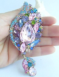 Gorgeous 4.33 Inch Gold-tone Multicolor Rhinestone Crystal Flower Brooch Women Jewelry Art Deco