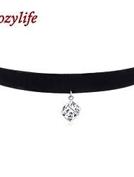 "Cozylife 3/8"" Womens Girls Black Velvet Gothic Collar Vintage Choker Necklace Sterling Sliver CZ Diamond NextBox Pendant"