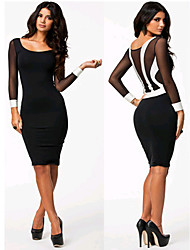 Women's Bateau Dresses , Microfiber/Rayon Sexy/Party/Work Long Sleeve Phylomeya