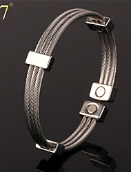U7® Unisex Natural Germanium Magnetic Stone 316L Stainless Steel Cool Cuff Bracelet